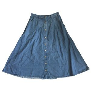 Retro buttoned denim midi skirt